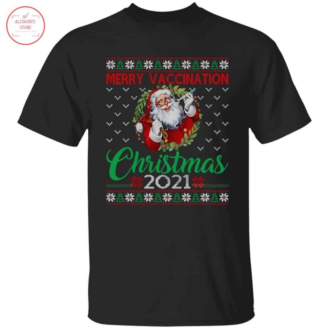 Merry Vaccination Christmas 2021 Santa Ugly Shirt