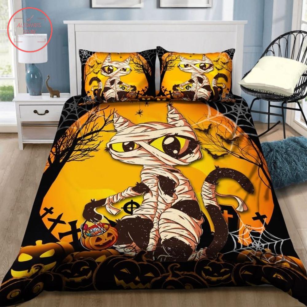 Mummy Black Cat Trick or Treat Halloween Blanket