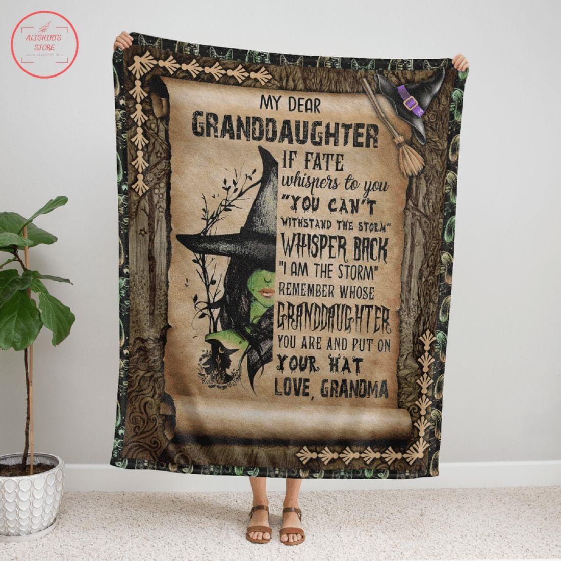 My Dear Granddaughter Witch Halloween Fleece Blanket