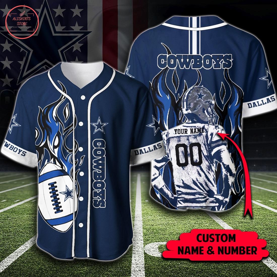 NFL Dallas Cowboys Personalized Baseball Jersey