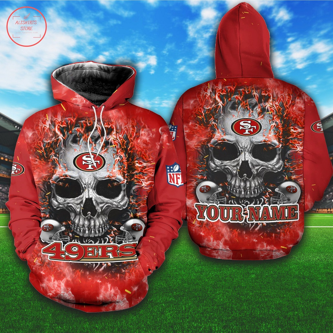 NFL San Francisco 49ers Personalized Skull Hoodie 3D