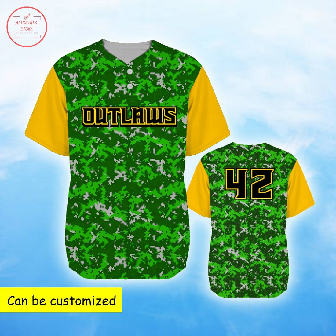 Outlaws Green Camo Personalized Baseball Jersey