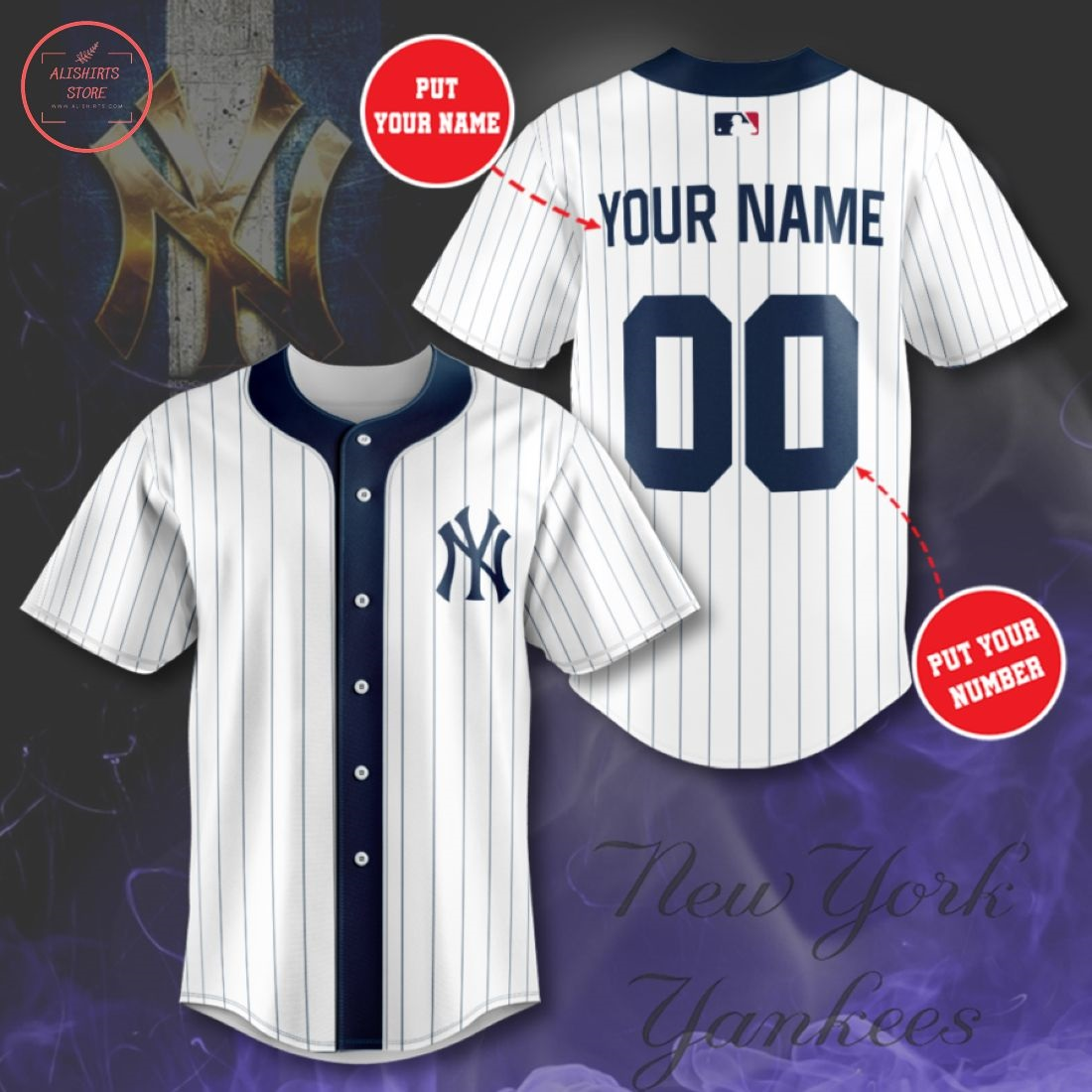 Personalized New York Yankees Navy Stripe Baseball Jersey