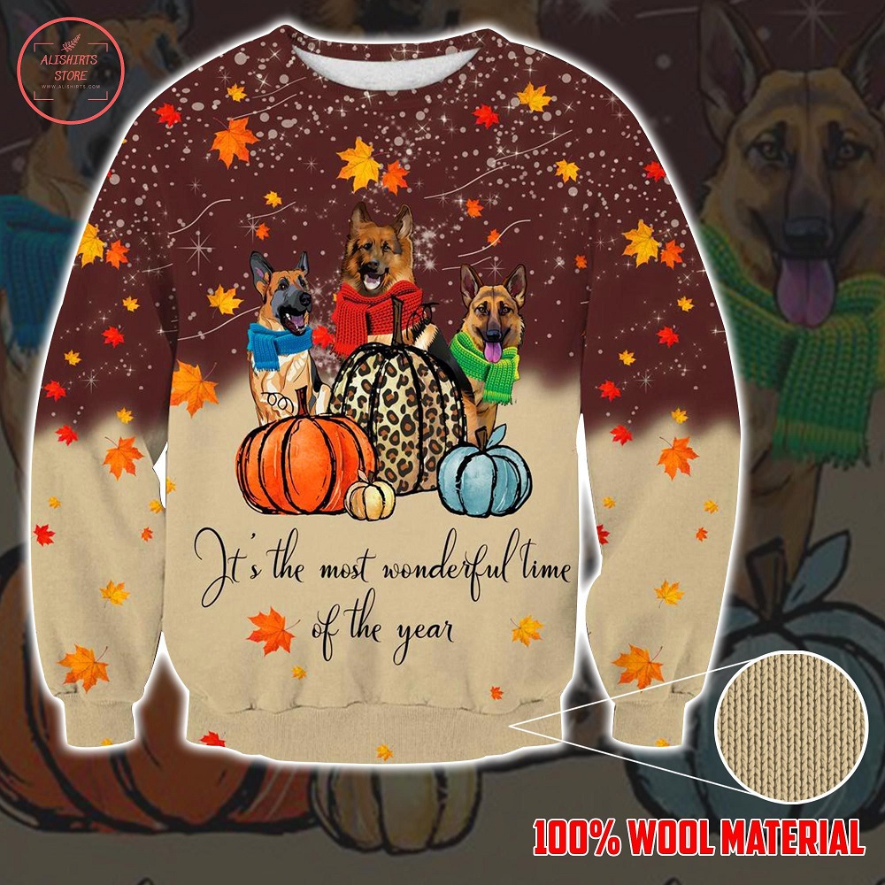 Pumpkins Dogs It's The Wonderful Time Of The Year Sweater