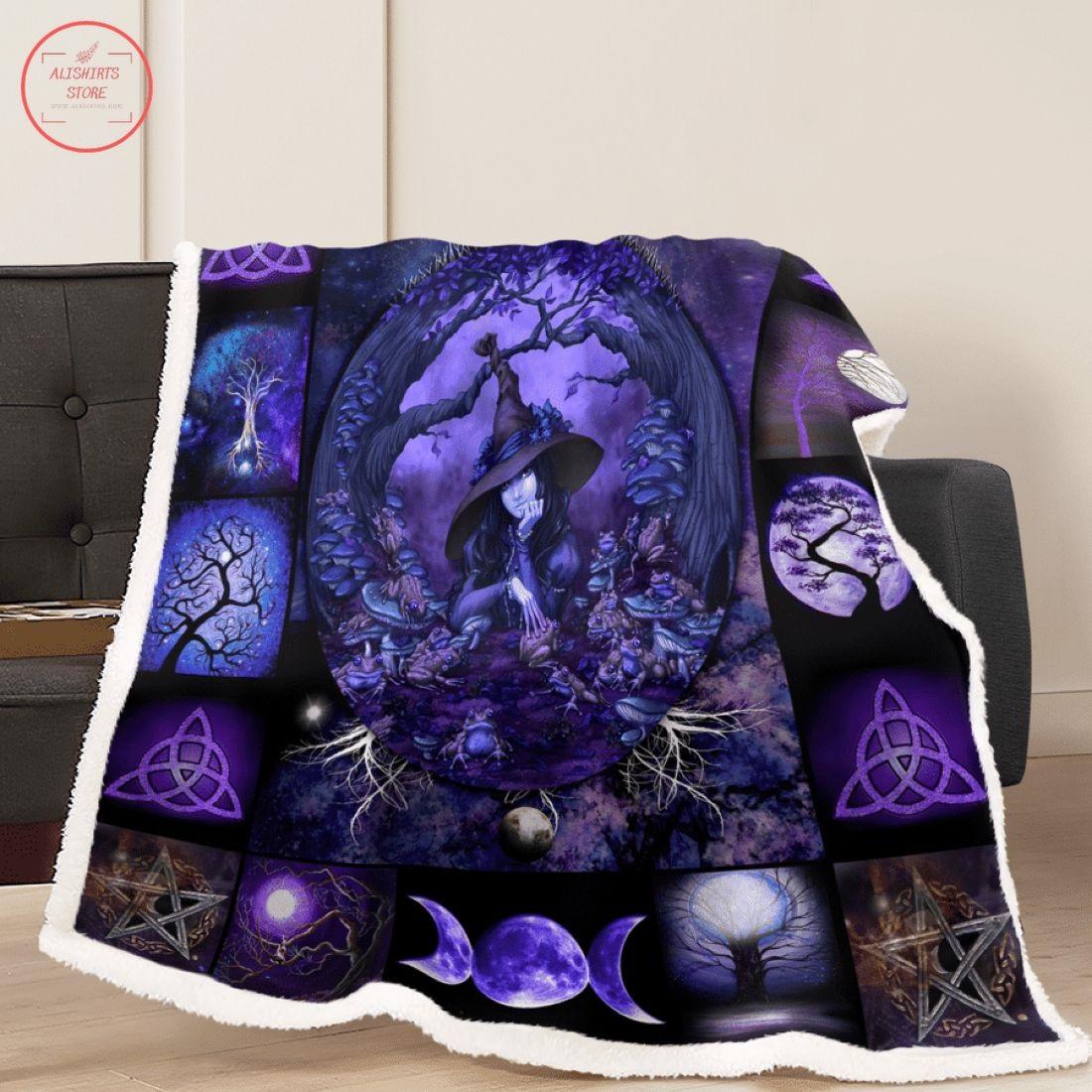 Purple Witch Halloween Fleece Blanket
