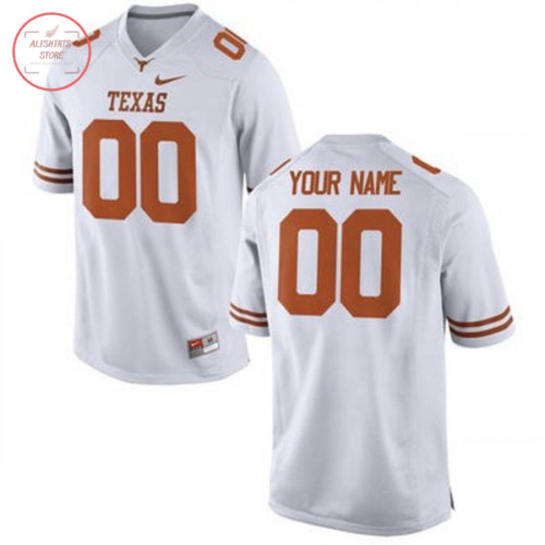 Texas Longhorns Custom White Football Jersey