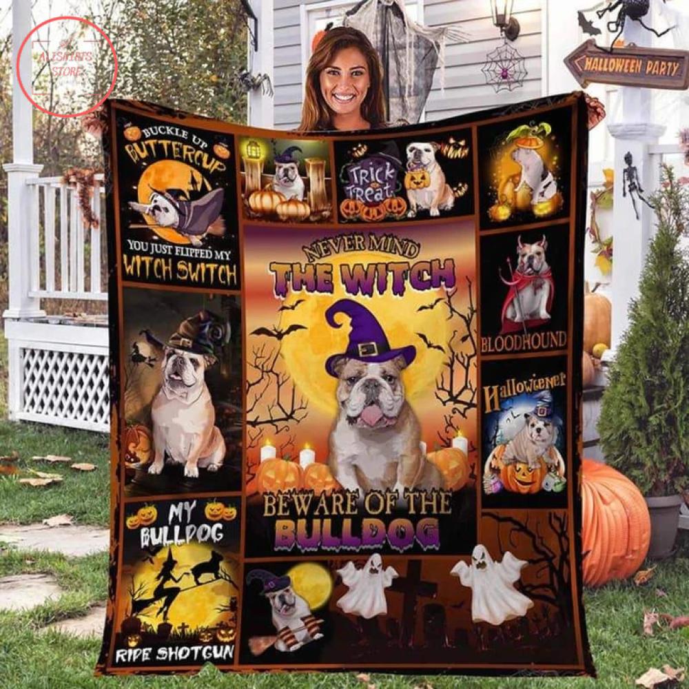 The Witch Bulldog Halloween Blanket