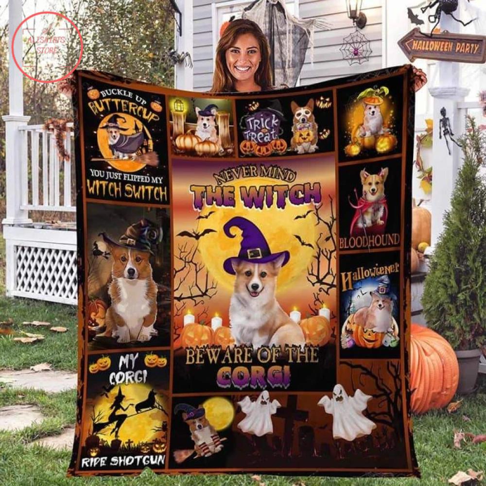 The Witch Corgi Halloween Blanket