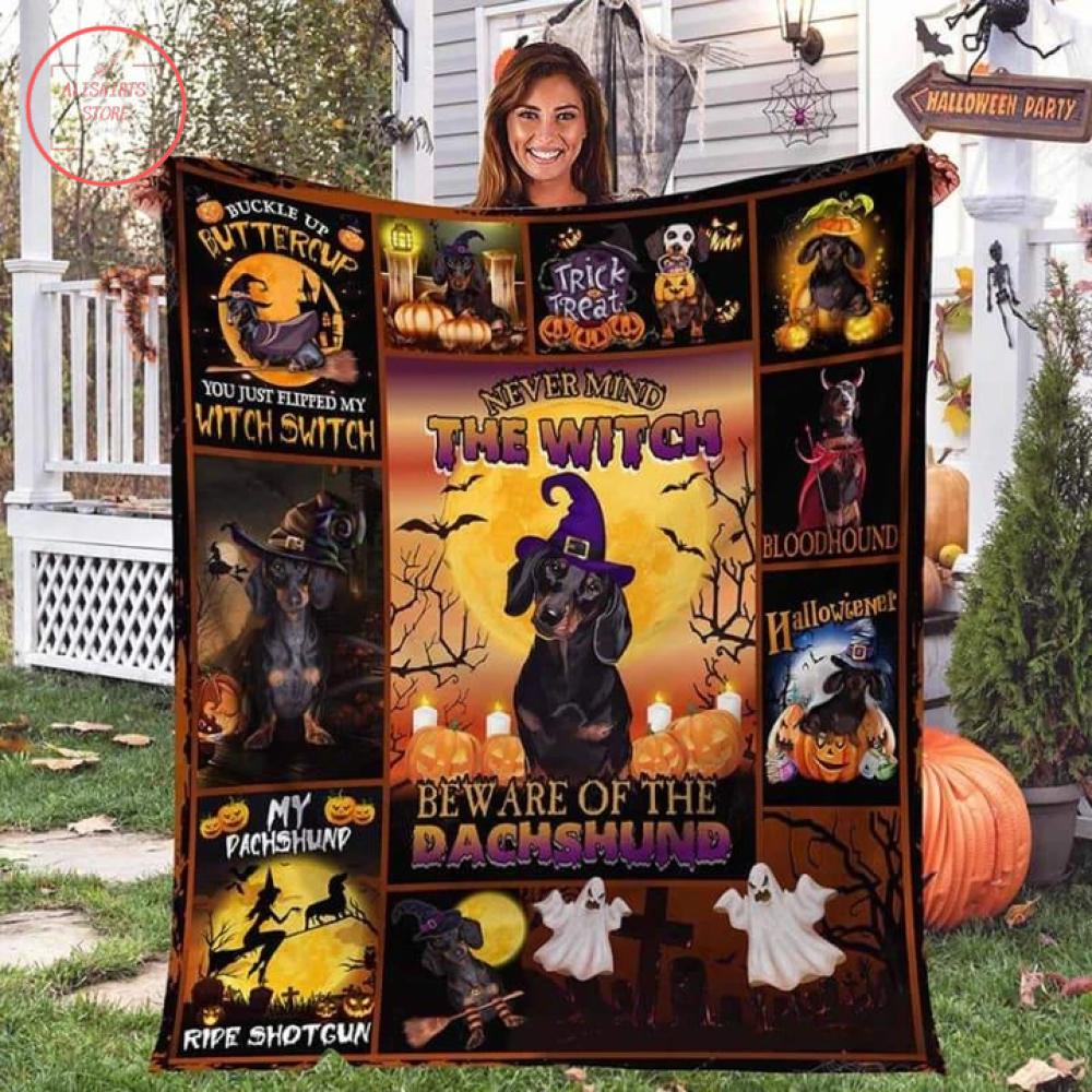 The Witch Dachshund Halloween Blanket