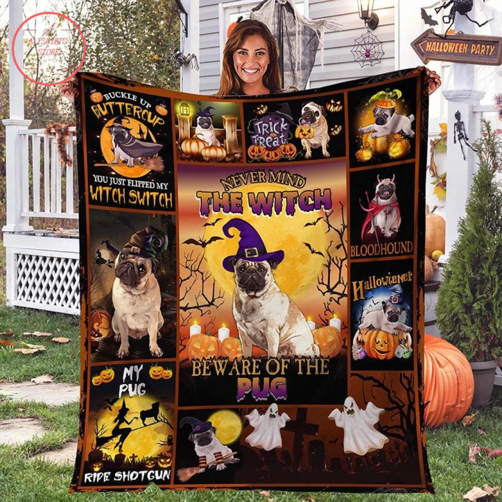 The Witch Pug Halloween Blanket