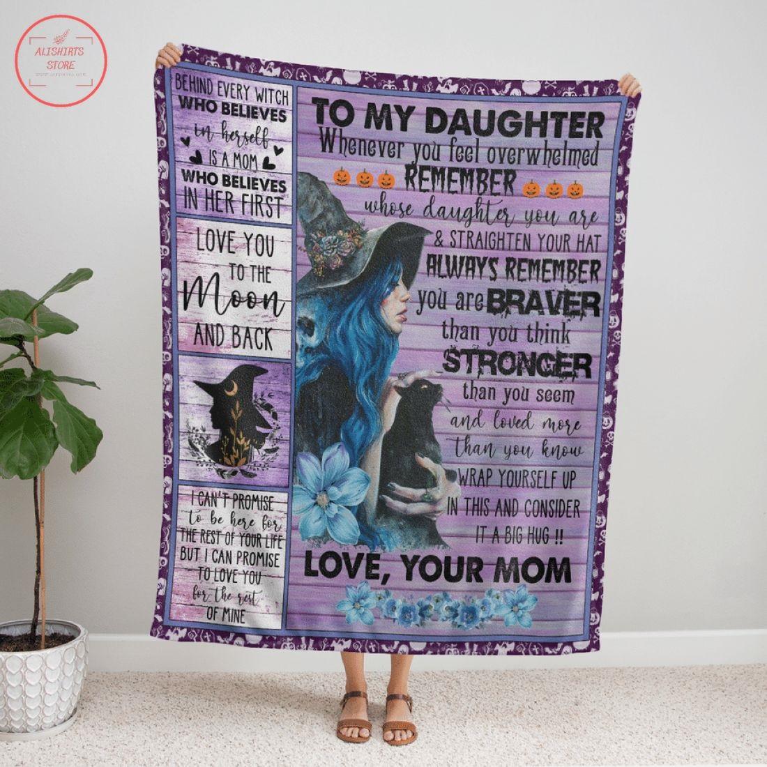 To My Daughter Witch Halloween Fleece Blanket