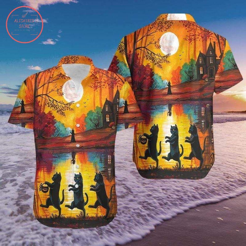 Walking Cat 3D Halloween Hawaiian Shirts
