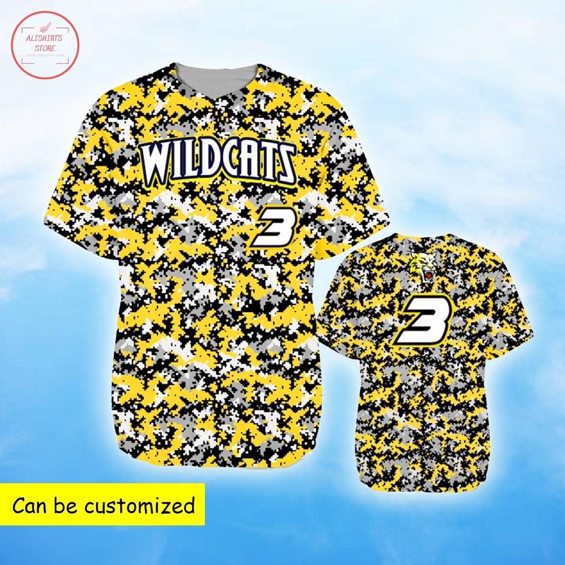 Wildcats Yellow Camo Personalized Baseball Jersey