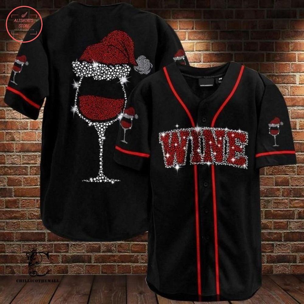 Wine Christmas Baseball Jersey