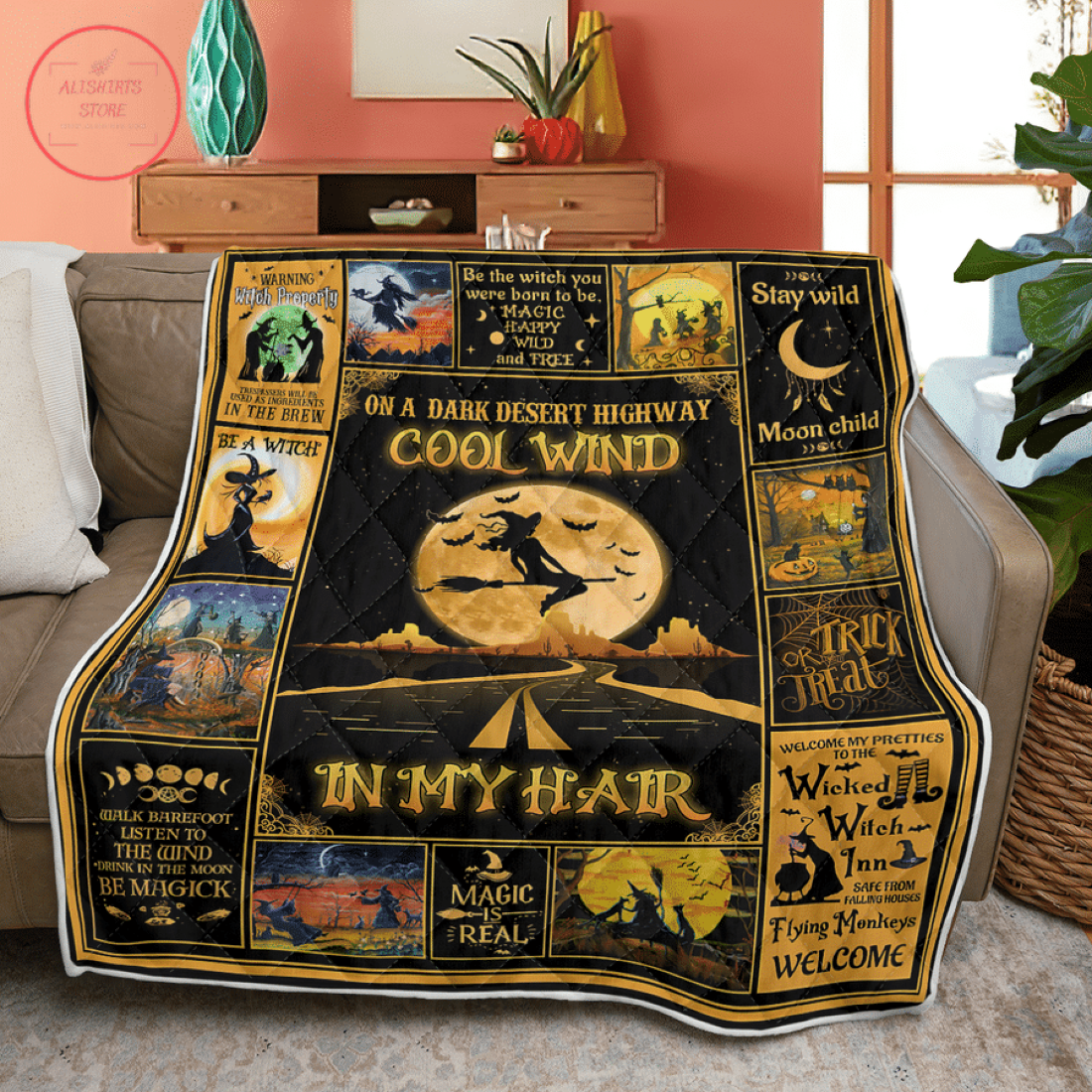 Witch Cool Wind Halloween Blanket
