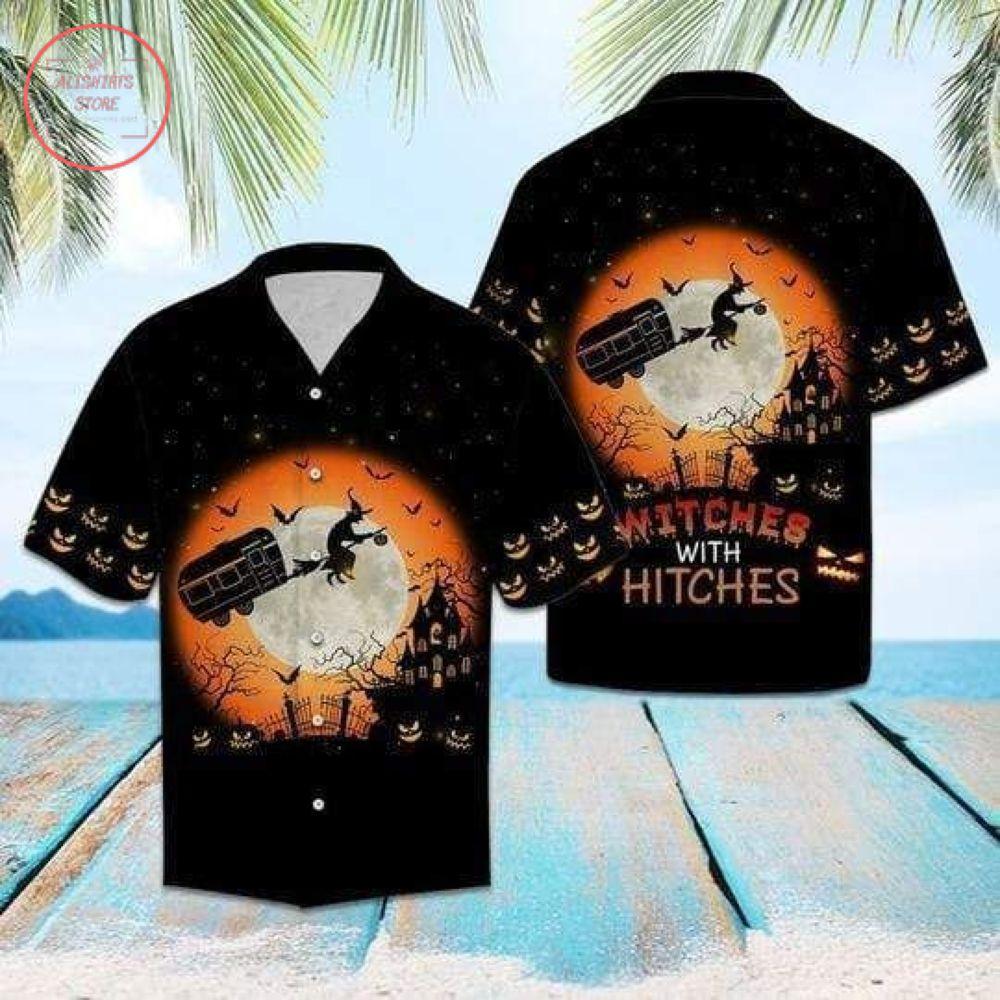 Witches Hitches Halloween Hawaiian Shirts