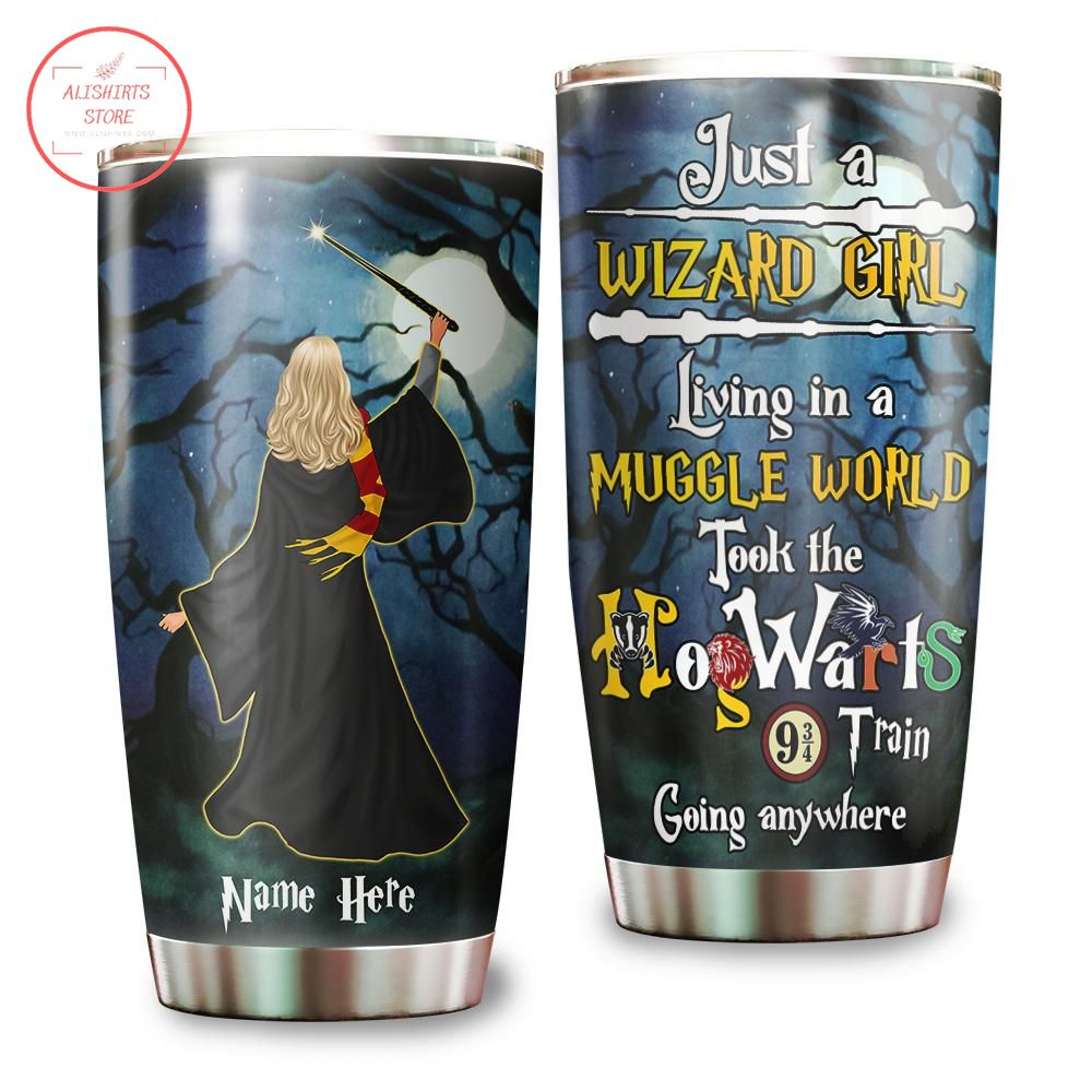 Witches Just A Wizard Girl Personalized Halloween Tumbler
