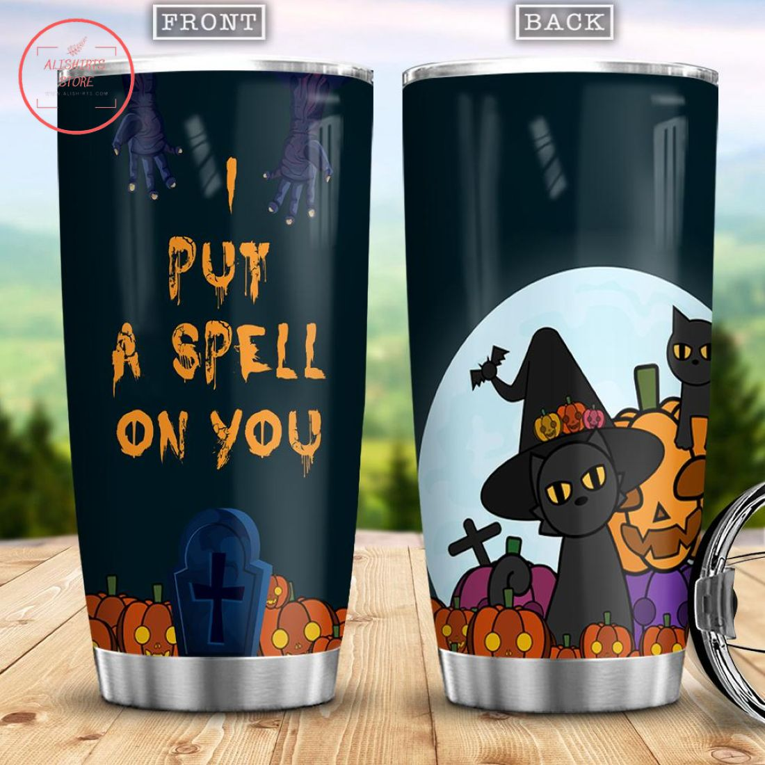 I Put A Spell On You Black Cat Witch Halloween Tumbler