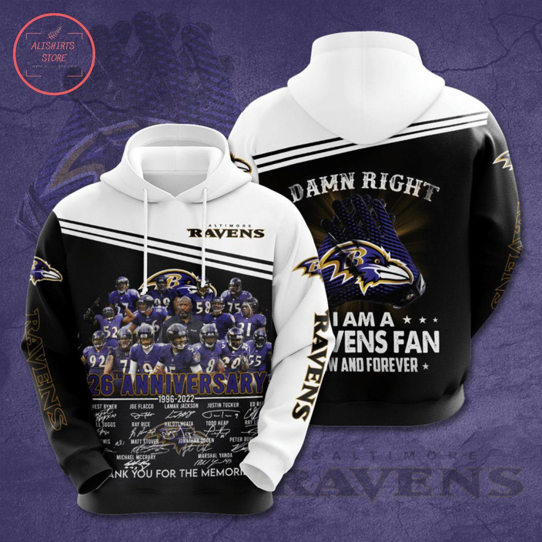 Baltimore Ravens 26 Anniversary 1996 2022 Hoodie 3d