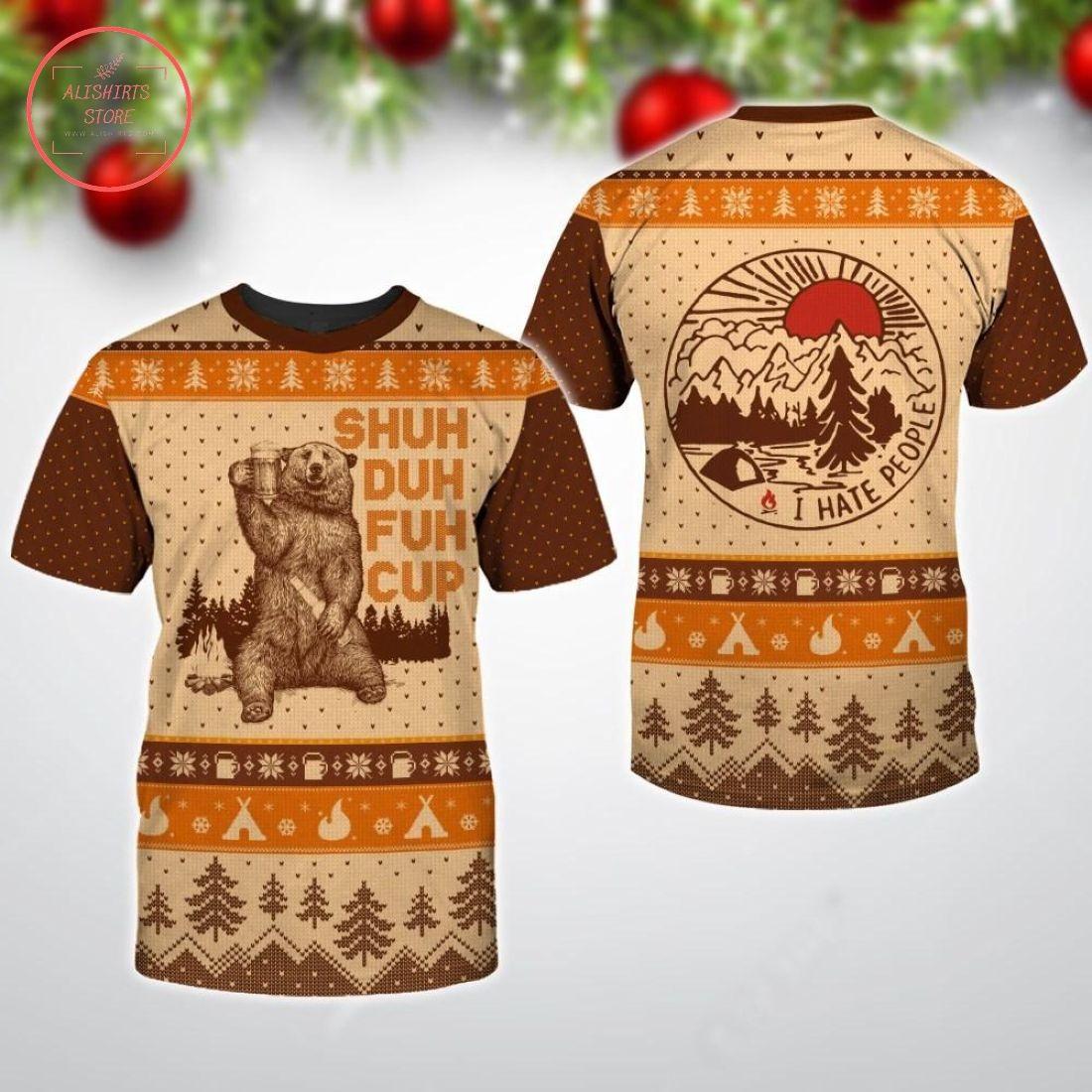 Bear Shuh Duh Fuh Cup Ugly Christmas 3D All Over Print Shirts
