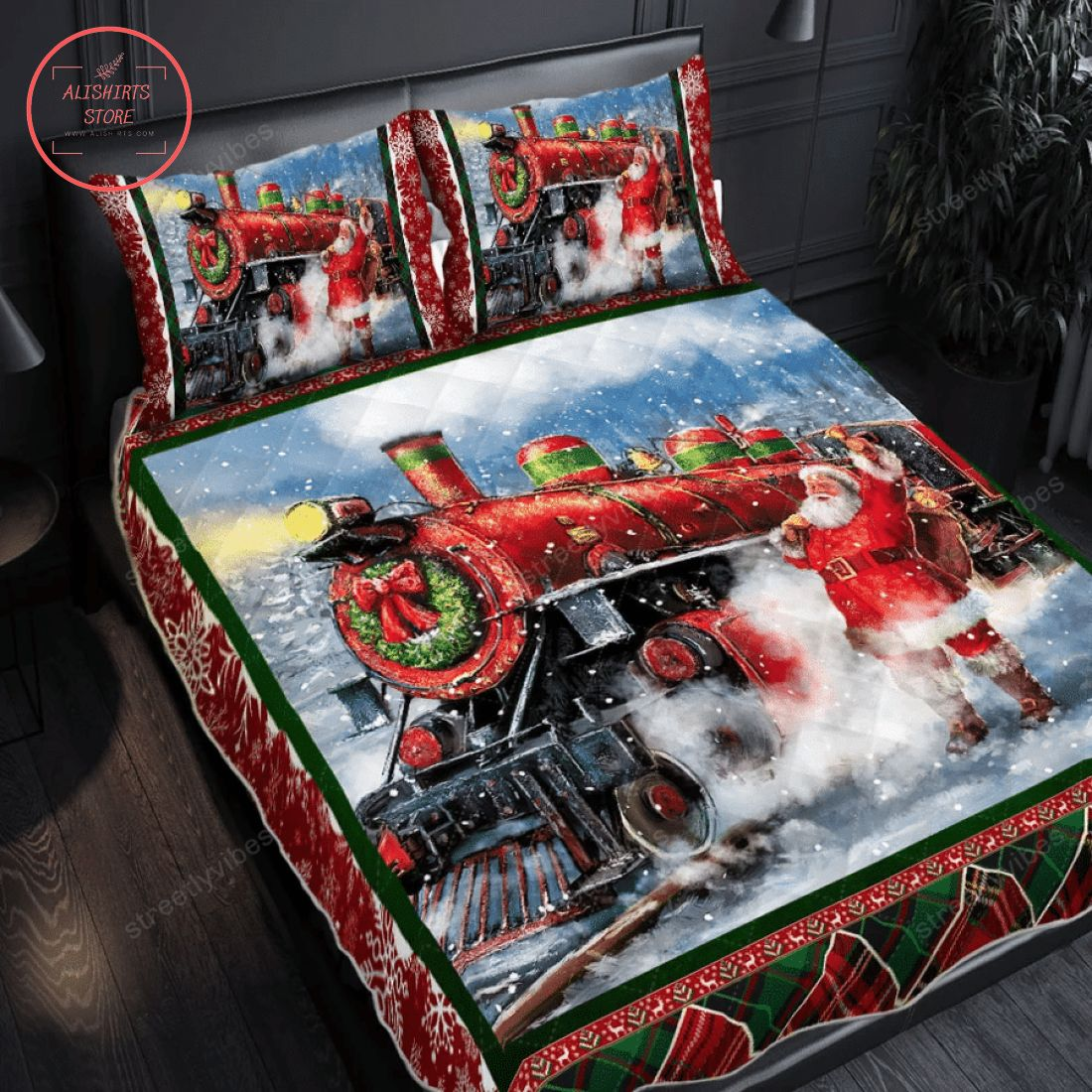Christmas Train With Santa Claus Quilt Bed Set