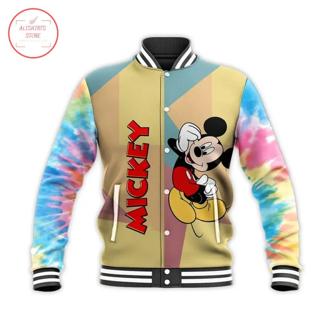 Disney Mickey Mouse Tie Dye Letterman Jacket