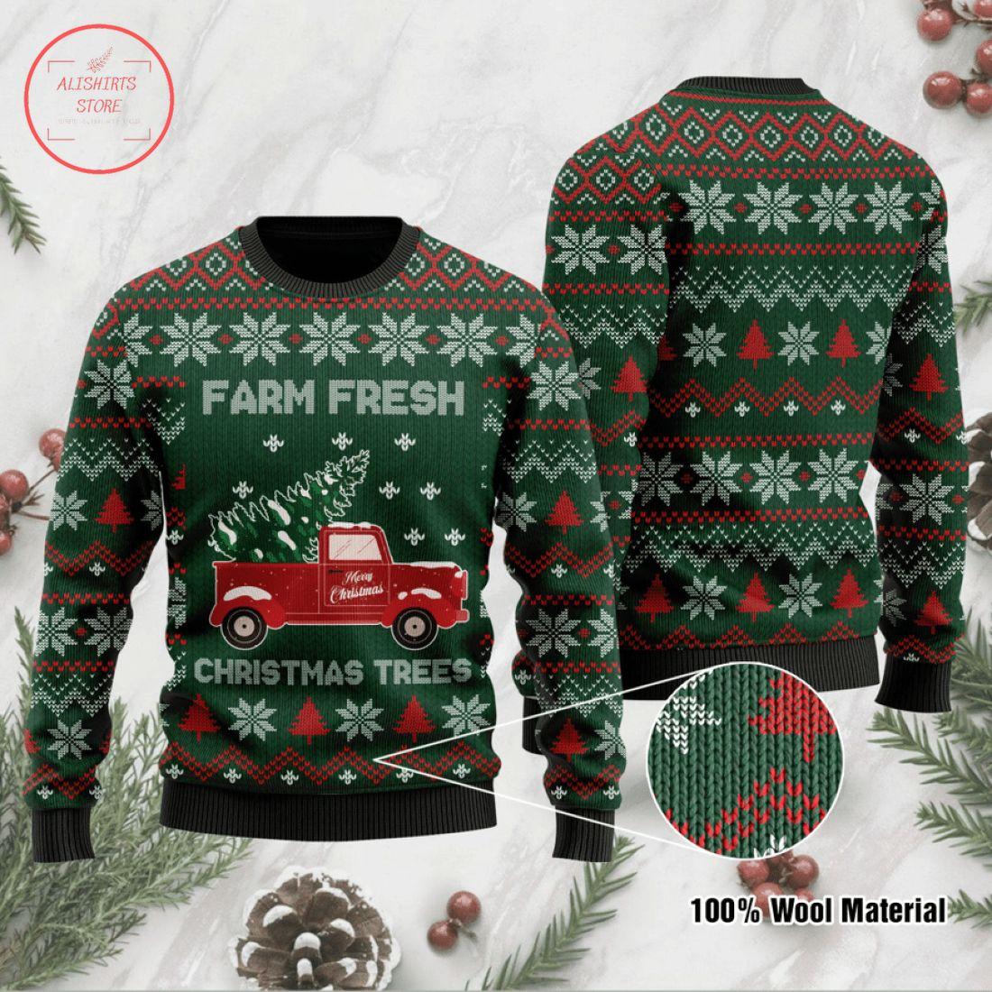 Farm Fresh Grinch Nurse Ugly Christmas Sweater