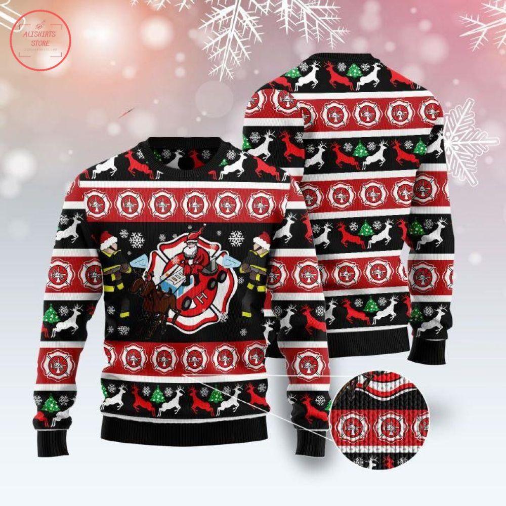 Fireman Firefighter Ugly Christmas Sweater