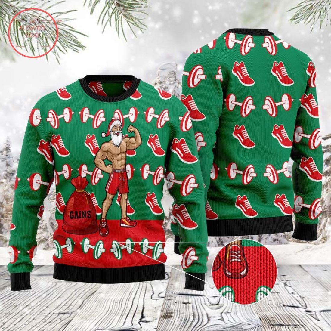 Gym Santa Ugly Christmas Sweater
