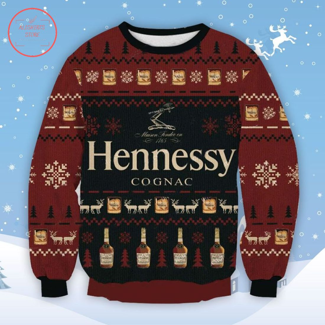 Hennessy Cognac Ugly Christmas Sweater