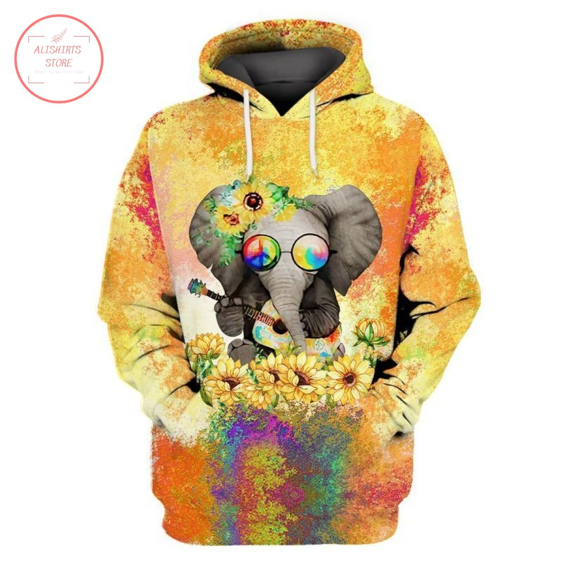Hippie Elephant With Sunflower 3D Hoodie