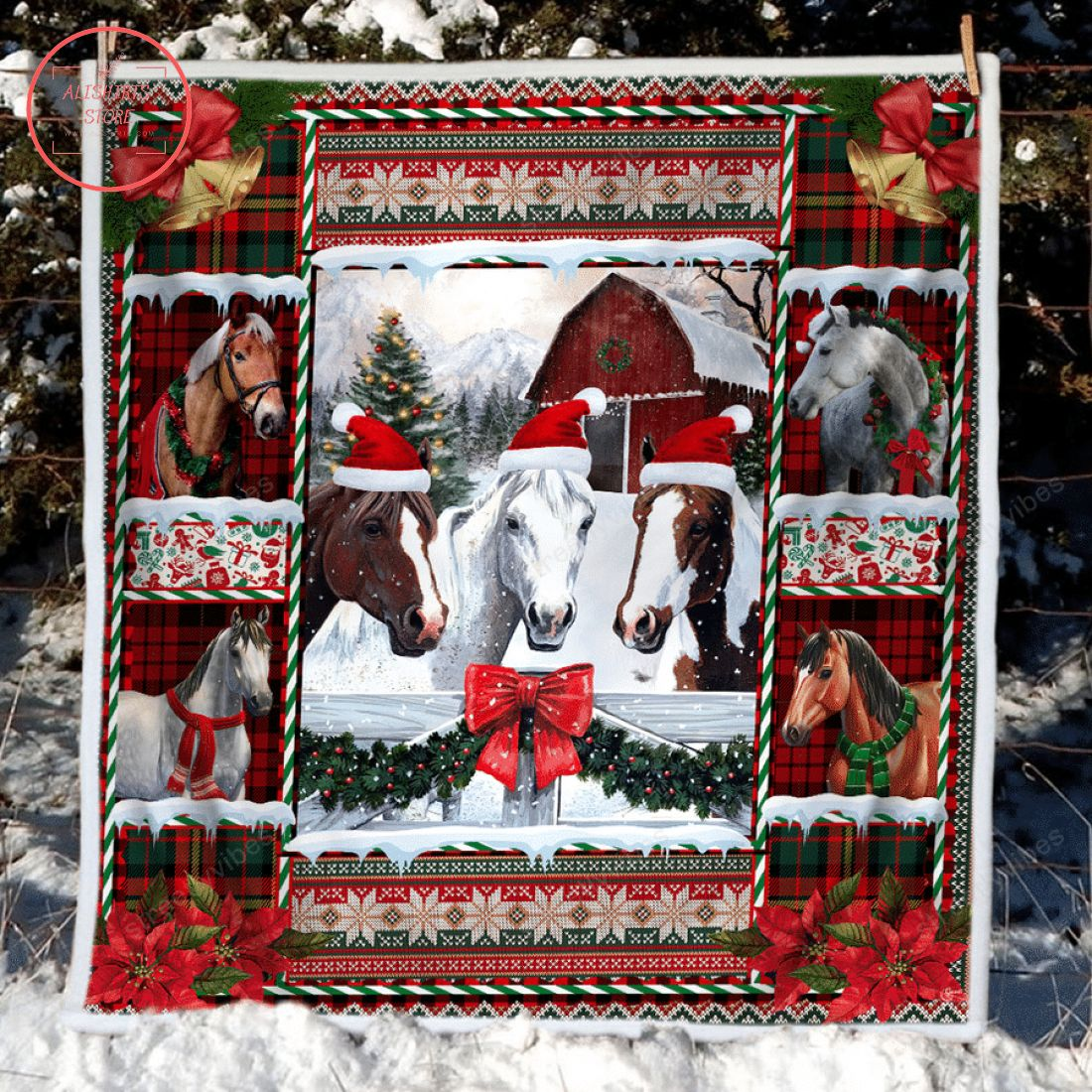 Horse Merry Christmas Barn House Fleece Blanket