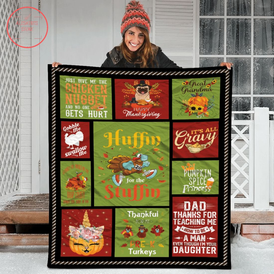 Huffin for the Stuffin Funny Thanksgiving Fleece Blanket