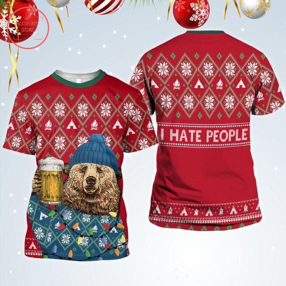 I Hate People Winter Bear Christmas Shirts, Hoodie