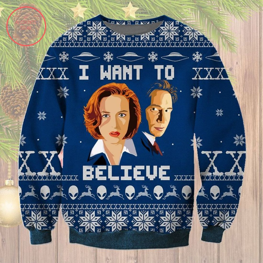 I Want to Believe X-Files Ugly Christmas Sweater