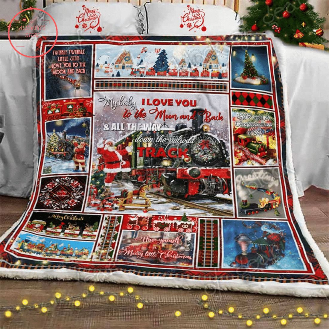 Little Train Christmas Sofa Throw Fleece Blanket