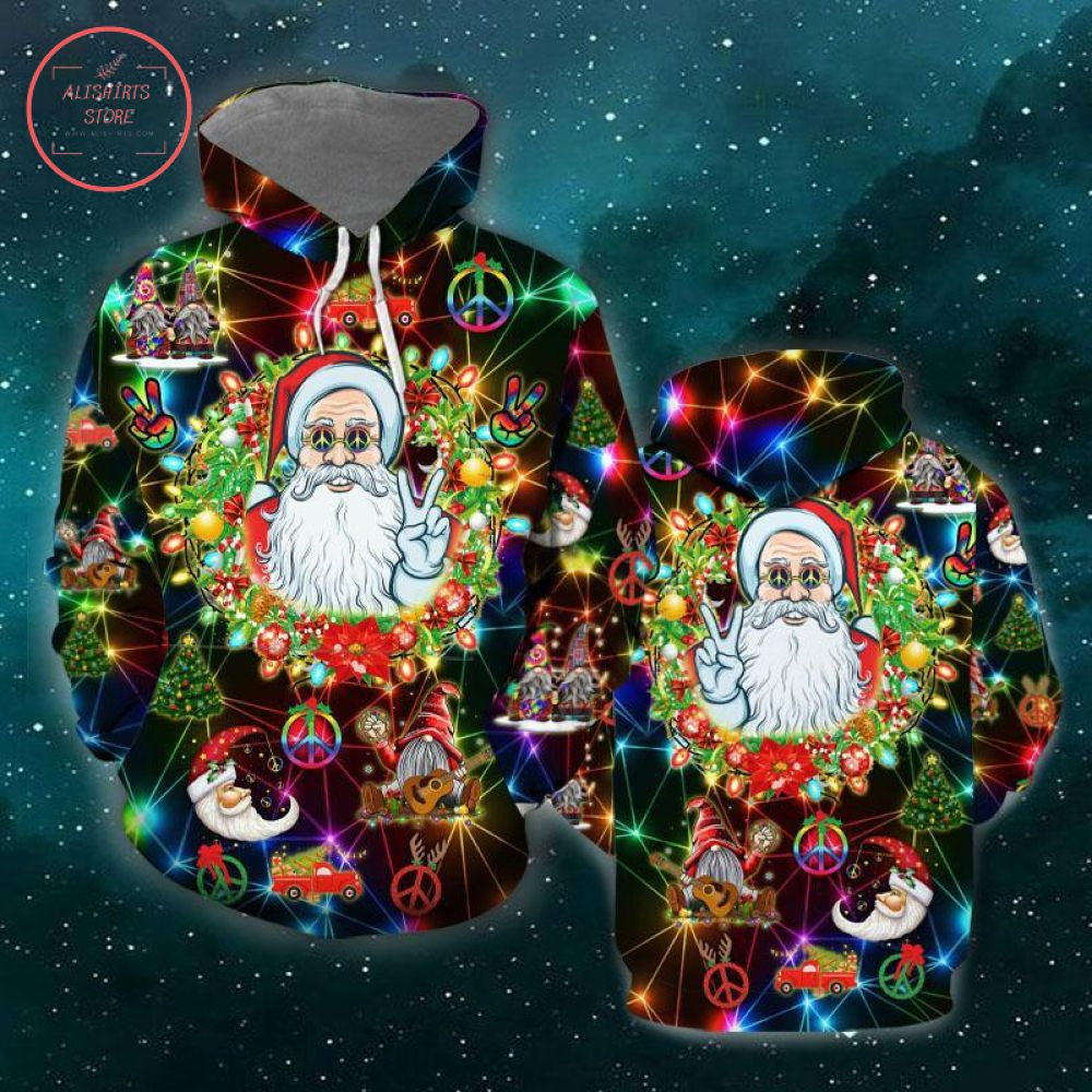 Peace Santa Christmas 3D Hoodie