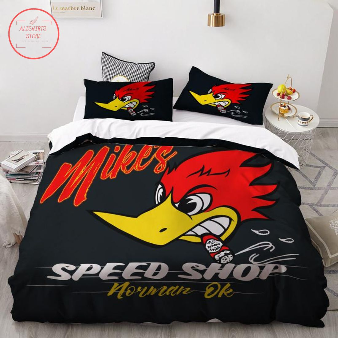 Personalized Speed Shop Hot Rod Bedding Set