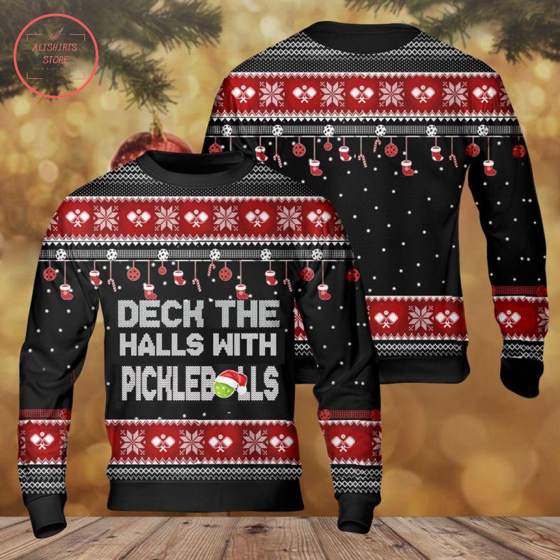Pickleball Deck the Halls Ugly Christmas Sweater