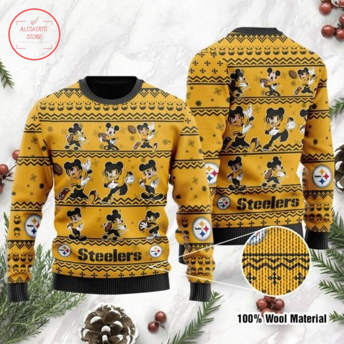 Pittsburgh Steelers Mickey Mouse Ugly Christmas Sweater