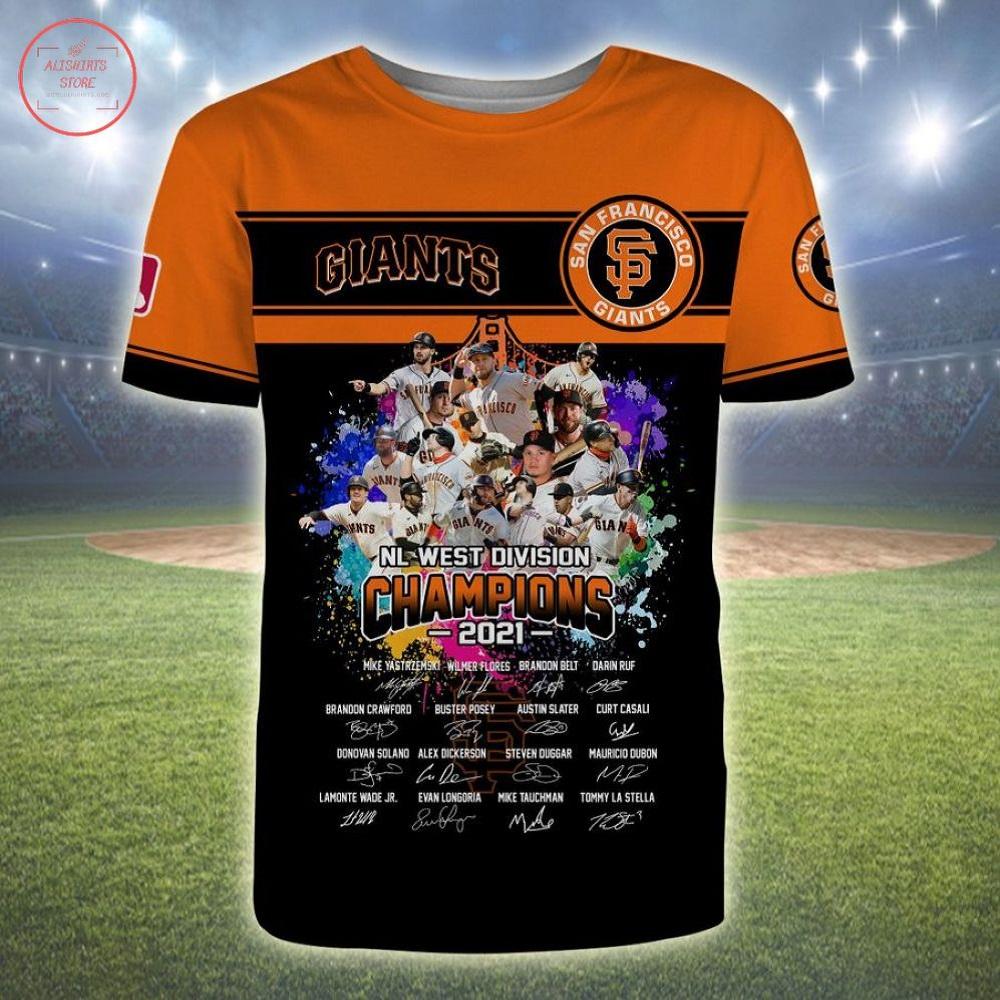 San Francisco Giants NL West Division Champions 2021 3d Shirts
