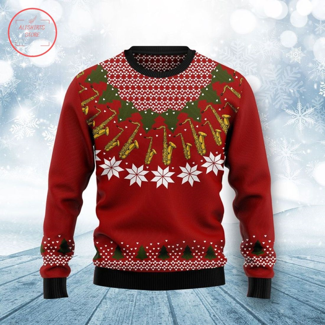Saxophone Lover Ugly Christmas Sweater