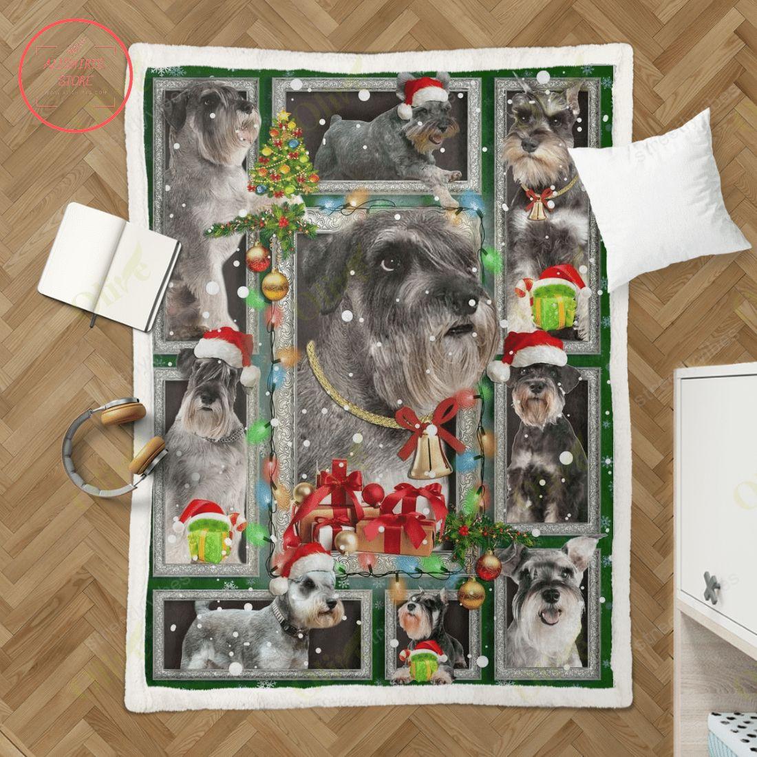 Schnauzer Waiting for Christmas Fleece Blanket