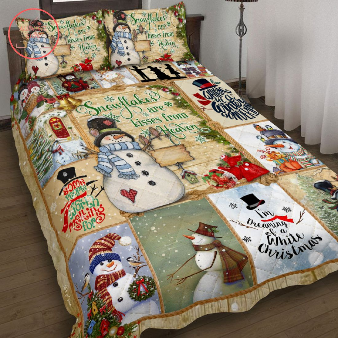 Snowflakes Are Kisses from Heaven Quilt Bed Set