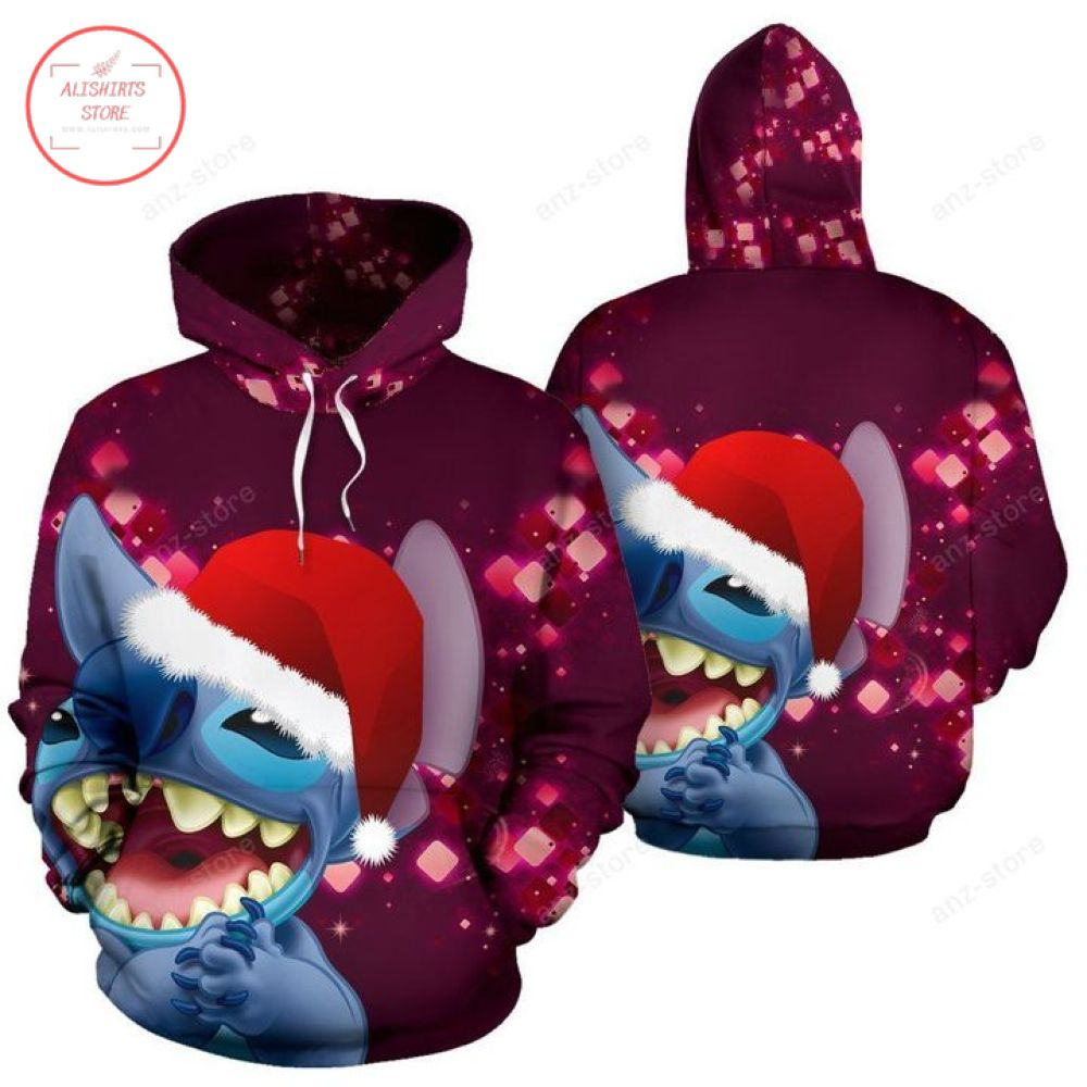 Stich With Santa Hat Christmas Hoodie