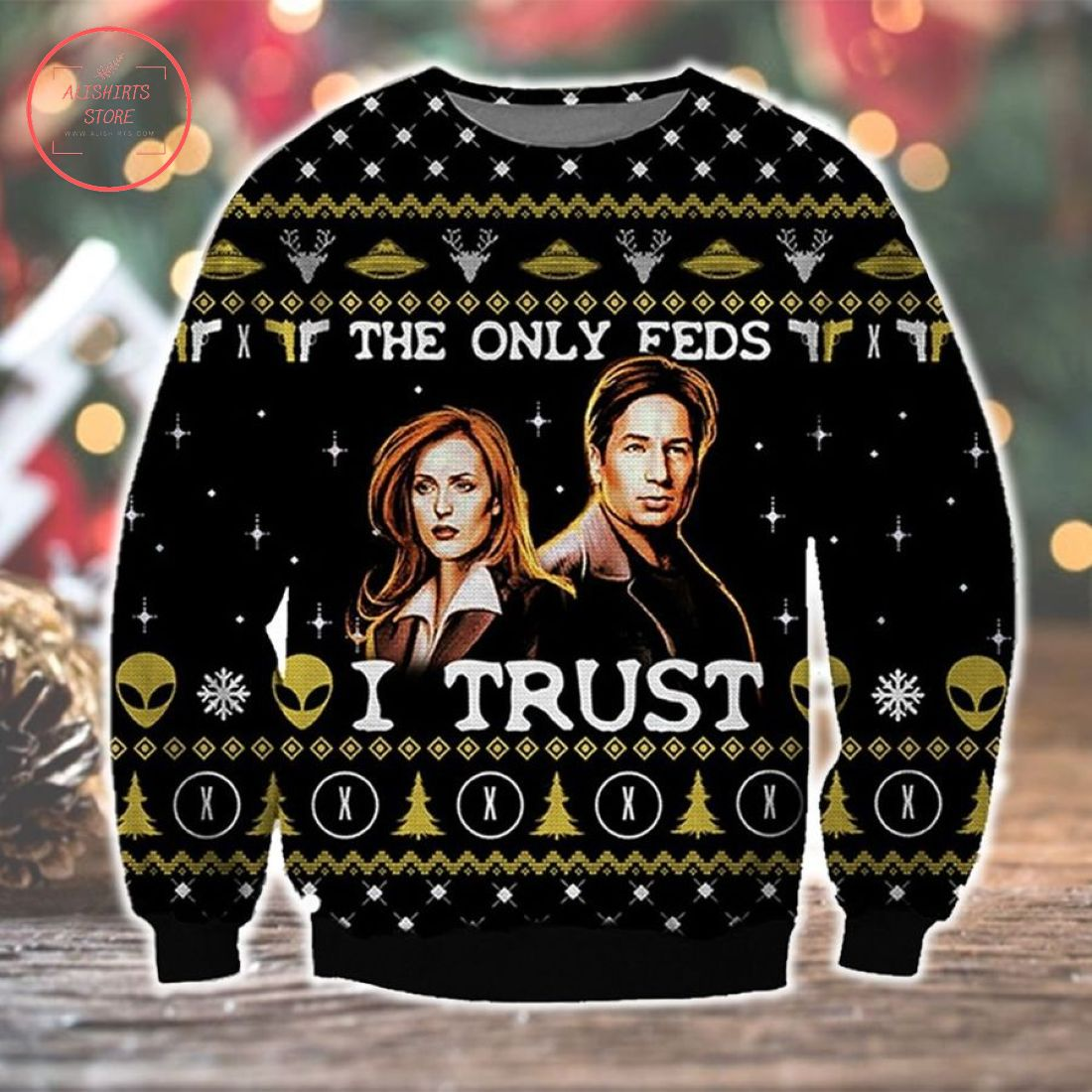 The Only Fed I Trust Alien Ugly Christmas Sweater