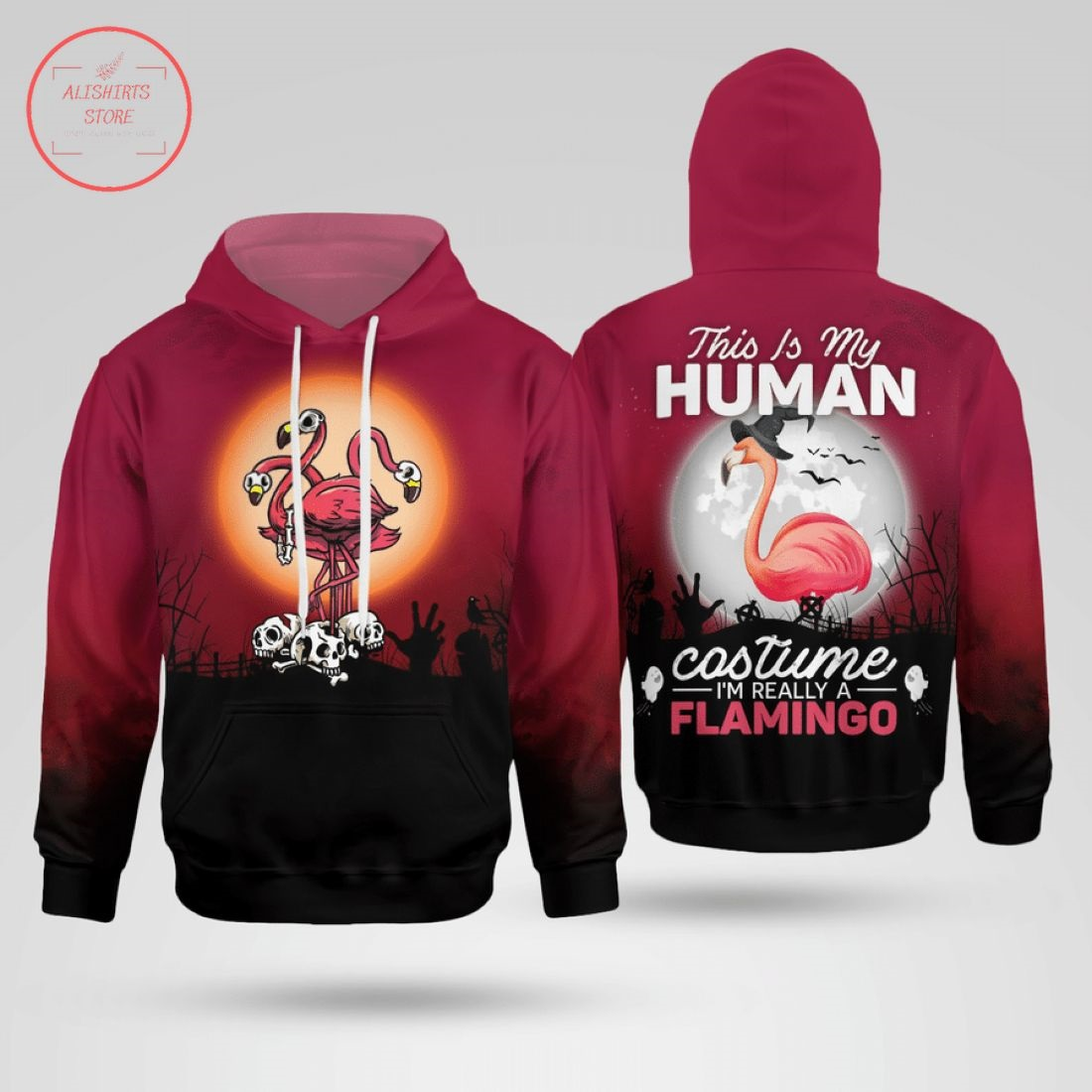 This is my human costume I'm a Flamingo 3d Hoodie