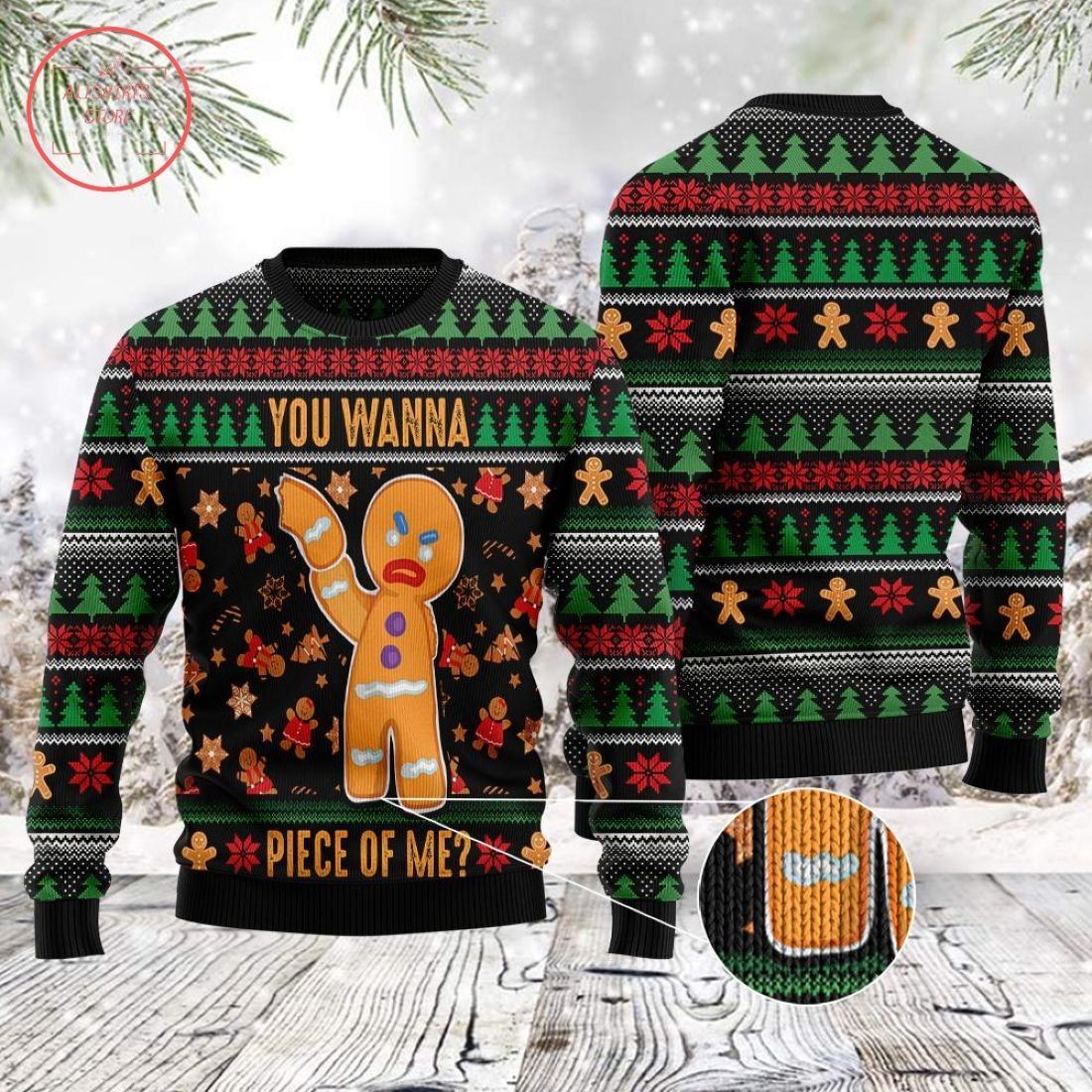 You Wanna Piece Of Me Gingerbread Man Ugly Christmas Sweater