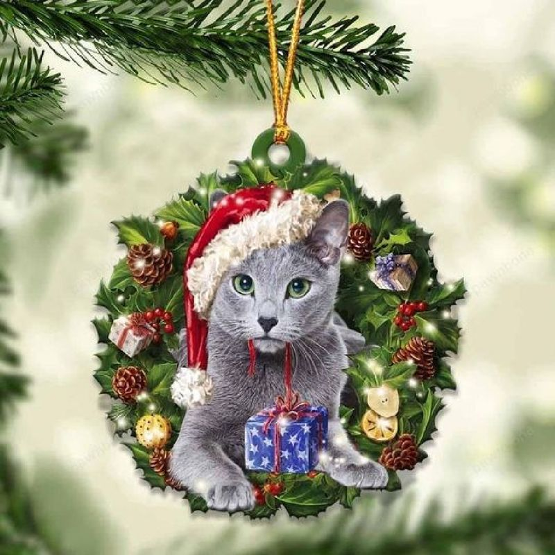 Russian Blue Christmas Gift Ornament