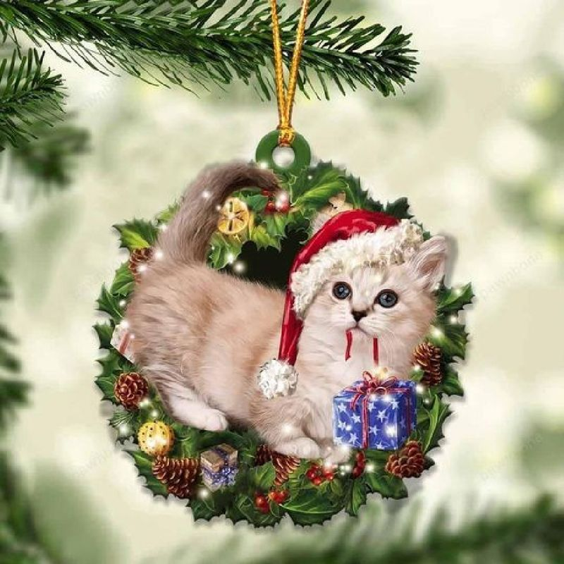 Munchkin Cat Christmas Gift Ornament
